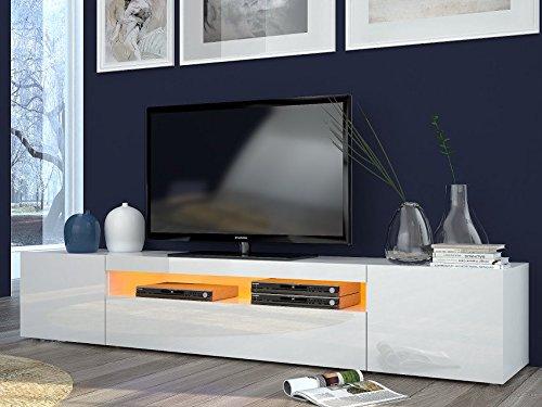 elbectrade Porta TV Moderno Mojito, Mobile Soggiorno Bianco, portatv Design.Dimensioni in cm...