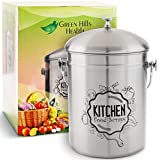 Kitchen Compost Bin Stainless Steel (Food Grade 410) Odorless Countertop Compost Pail -Bonus...