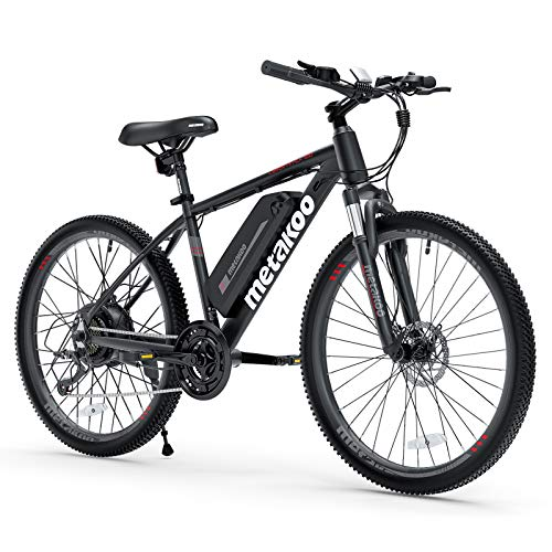 METAKOO 26' Electric Bike Cybertrack 100, 3 Hours Fast Charge, BAFANG 350W Brushless Motor, 36V/10.4Ah Removable Lithium-Ion Battery, Electric Mountain Bike with Shimano 21-Speed and Suspension Fork