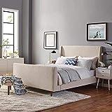 Modway Aubree Upholstered Fabric Sleigh Queen Platform Bed in Beige