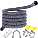 Universal Washing Machine Drain Hose Flexible Dishwasher Drain Hose Extension Kits Corrugated Washer Discharge Hose with 1 Extension Adapter and 2 Hose Clamps, U-Bend Hose Holder (10 ft)