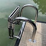 JLXJ Badeleiter Bootsleiter Leitern 4-stufige Teleskopleiter für Schwimmbad/Deck/Boot, Faltbarer Marine-Schwimm Pontonleitern mit Heckeinstieg mit Handlauf, Edelstahl