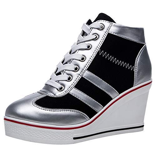 rismart Mujer Tenis de Lona con Tacon Cuña Zapatillas Sneakers Plataforma Alta Altos Zapatos SN02513(Plateado,35 EU)