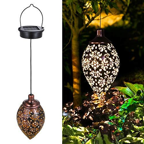 Solarlaterne für außen, Tomshine Garten Laterne, Dekorative Solarlampe Hängend, Metall LED Solar Laterne für Draussen Baum Patio [Energieklasse A+]
