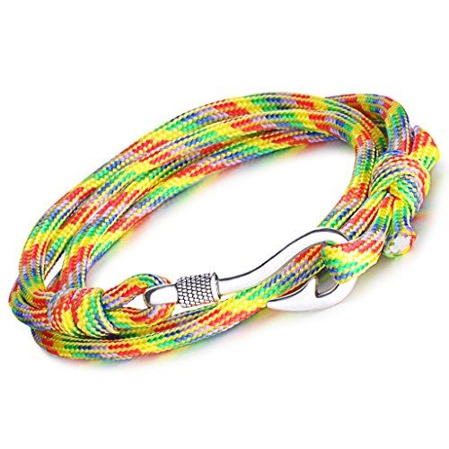 Infinite U, bracciale punk con ciondolo a forma di amo da pesca, per uomo e donna, in corda di nylon intrecciato colorato, lega di 4 fili, bracciale con ciondolo, bracciale da polso e Lega