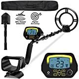 sakobs Metal Detector, Higher Accuracy Adjustable Waterproof Metal Detectors with LCD Display, Discrimination & Notch & All Metal Mode 10 Inch Search Coil for Adults & Kids