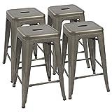 Devoko Metal Bar Stools 24' Indoor Outdoor Stackable Barstools Modern Style Industrial Vintage Counter Bar Stools Set of 4 (Gun)