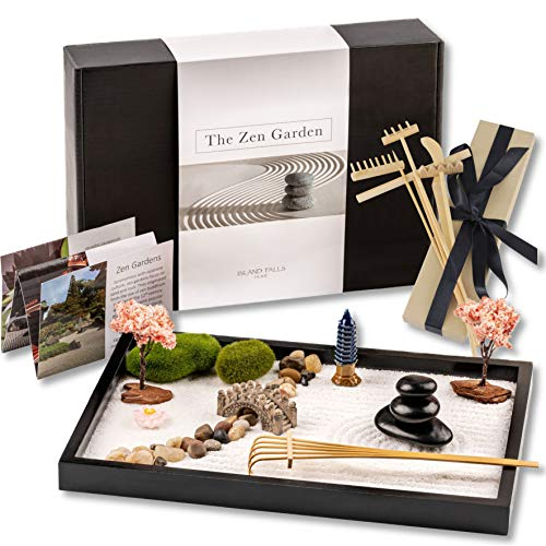 Island Falls Home Zen Garden Kit -11x8 inch Beautiful Premium Japanese...