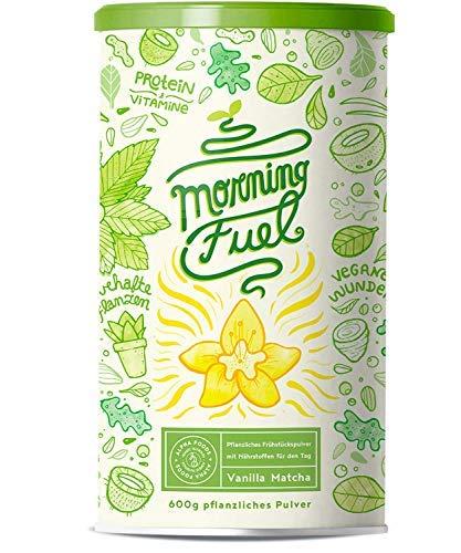 Morning Fuel Vanille Matcha Shake - Morgens Satt & Gesund, Vitamin- und Nährstoffreiche Frühstücksmischung mit Protein aus gekeimten Samen, Quinoa & Mandeln - 600 Gramm Pulver