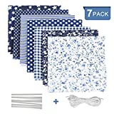 Tela algodon para coser 7 PCS, DIY Floral Telas Patchwork Material Cuadrados con Cuerda Elástica...