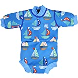 Splash About Happy Nappy - Traje de neopreno para niños, color Azul (Barcos), talla 0-4 meses/S