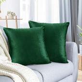 Capa para almofada nestl bedding para cama quadrada macia decorativa capa de almofada aconchegante de veludo capa para sofá sofá quarto, p, moderno, hunter green, 2 - 20x20