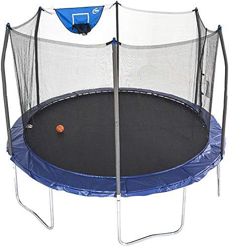 Skywalker Trampolines 12-Foot Jump N Dunk Trampoline with Enclosure Net - Basketball Trampoline, Blue