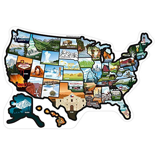SEE MANY PLACES .com RV State Stickers United States Travel...