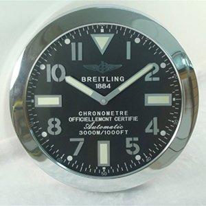 Breitling Luminous Silent Sweep Wall Clock, Silver+Black 2