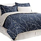 Bedsure Bed in A Bag Bedding Sets Queen with Comforter Queen Comforter Set 8 Pieces Navy Tree Branch - 1 Comforter, 2 Pillow Shams, 1 Flat Sheet, 1 Fitted Sheet, 1 Bed Skirt, 2 Pillowcases