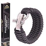Parapeak Bracelet de survie-Style Trilobite avec manille réglable en acier inoxydable, Black, Silver Clasp, 9' (for 7'-8' Wrists)