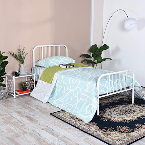 SYMY Vintage Twin Metal Bed Frame with Headboard and Footboard  Twin Platform/Solid Sturdy Metal Slat/No Box Spring Needed/Mattress Foundation (Black)