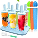 Ice Molds, 10 PCS Ice Popsicle Molds Set, Ice Lolly Makers, Ice Cream Reusable Silicone Popsicle Molds DIY Frozen Ice Lolly Molds for Kids, Toddlers and Adults with Non-Spill Lid Cleaning Brush
