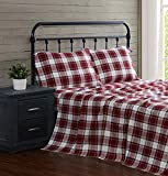 LONDON FOG Cotton Flannel Sheet Set, Full, Red Plaid