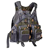 Bassdash Fly Fishing Vest Multi Pocket Waistcoat Adjustable Size for Men Women (Style Three - Army...