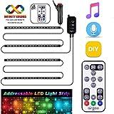 Dreamcolor Interior Car Lights, Music Under Dash Car Lighting, 2020 New Waterproof 4pcs 72 LED Car...