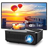 WiFi Projector, Native 1080P Full HD Video Projector, Bluetooth Projector, FANGOR 7500L/250 Display/ Contrast 8000: 1 Theater Movie Projector with Wireless Mirror to iPhone/Ipad/Android Phones