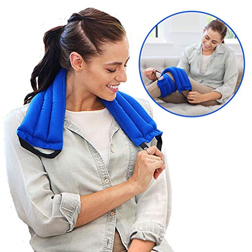 My Heating Pad Microwavable Multi Purpose Wrap for Neck and Shoulders, Back, Joints, and Menstrual Cramps Pain Relief | Weighted Heat Therapy Pack with Handles for Sore Muscles and Injuries - Blue