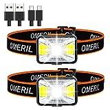 Lampe Frontale Puissante[Lot de 2],OMERIL Torche Frontale LED USB...