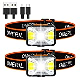Lampe Frontale Puissante[Lot de 2],OMERIL Torche Frontale LED USB Rechargeable,200 Lumens,5 Modes...