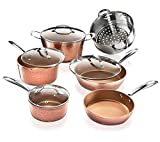 Gotham Steel Pots and Pans Set – Premium Ceramic Cookware with Triple Coated Ultra Nonstick Surface for Even Heating, Oven, Stovetop & Dishwasher Safe, 10 Piece, Hammered Copper