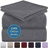 Mellanni Queen Jersey Sheet Set - 4 pc Luxury Heather 100% Cotton Bed Sheets - Soft, Comfortable, All Season Bedding - Deep Pocket - T-Shirt Sheets (Queen, Dark Gray Heather)