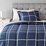Amazon Basics 5-Piece Light-Weight Microfiber Bed-In-A-Bag Comforter Bedding Set - Twin/Twin XL, Navy with grey Plaid