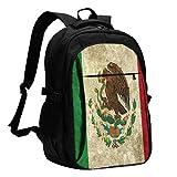 Mochila para portátil de Viaje, Bandera Retro de México Mochila para portátil de Viaje Mochila Escolar universitaria Mochila Informal con Puerto de Carga USB