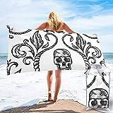 Lawenp Toalla de Playa de Secado rápido, Microfibra con Estampado de Calavera, Toallas de baño Ligeras, súper absorbentes para niños y Adultos, 31.5 'X63'
