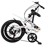 Folding Bike for Adults, 20-inch Wheels, 7-Speed Drivetrain, Mini Compact Foldable Bicycle for Student Office Worker Urban, High Tensile Steel Folding Frame for Adult Men Women (White)
