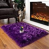 BENRON Super Soft Faux Sheepskin Fur Living Room Rug, Luxury Fluffy Faux Fur Rug for Bedroom, Rectangle Shaggy Area Rug 2x3 Feet Purple