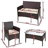 BB Sport 7-teilige Polyrattan Sitzgruppe für 4 Personen inkl. Sitzpolster und Tisch Balkonmöbel Set Sitzgarnitur - 7