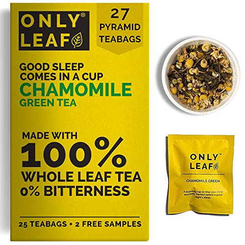 ONLYLEAF Chamomile Green Tea For Stress Relief & Good Sleep, Made with 100% Whole Leaf & Natural Chamomile Flowers, 27 Pyramid Tea Bags (25 Tea Bags + 2 Free Samples)