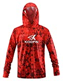 Performance Fishing Hoodie Long Sleeve Hooded Sunblock Shirt Outdoor UPF50 Dry Fit Quick-Dry, Orange, Large