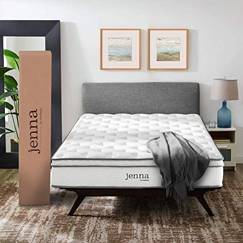 "Modway Jenna 10"" Queen Innerspring Mattress Quality Quilted Pillow Top-Individually Encased Pocket Coils-10-Year Warranty, Queen, White"