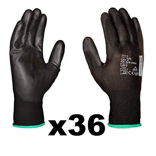 Guanti da lavoro (36 paia) - Guanti di montaggio antiscivolo senza cuciture - comodi, ideali per...