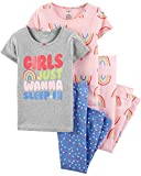 Carter's Toddler and Baby Girls' 4 Piece Cotton Pajama Set, Sleepy and Cute, 5T