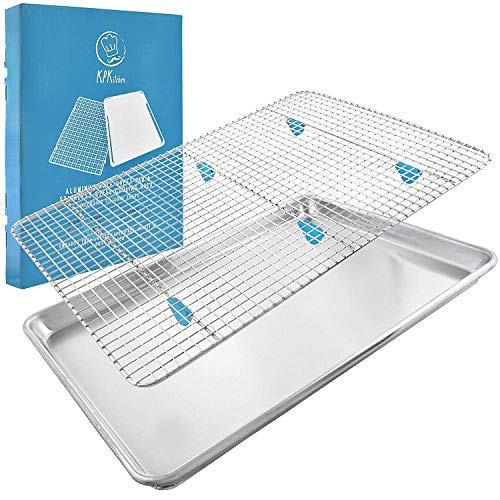 Baking Sheet with Rack Set - (18 x 13 Pan / 16.8 x 11.8 Cooling Rack) Heavy-Duty Aluminum Cookie Half Sheets Oven Tray with Stainless Steel Roasting Wire - Includes Silicone Feet for Cooking Racks