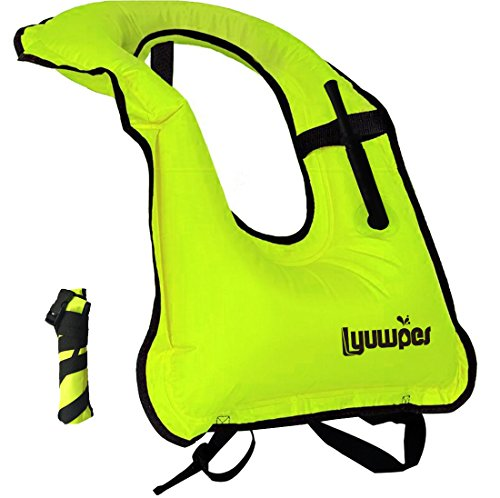 Inflatable Snorkel Vest Adult Snorkeling Jackets Free Diving Swimming Safety Load Up to 220 Ibs Green