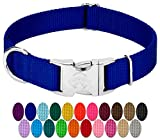 Country Brook Design - Vibrant 25 Color Selection - Premium Nylon Dog Collar with Metal Buckle (Large, 1 Inch, Royal Blue)