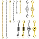 Quacoww 12 Pieces Magnetic Clasps and Chain Extender Set for Necklace Bracelet Jewelry Making Supplies (A)