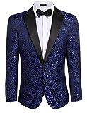 COOFANDY Men's Floral Party Dress Suit Stylish Dinner Jacket Wedding Blazer One Button Tuxdeo,Blue,US XXL(Chest 52.4)