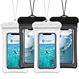 F-color Waterproof Phone Pouch, Universal Waterproof Case PVC Dry Bag for Swimming Boating Skiing Rafting, Compatible with iPhone Xs Max XR 8 7 6S Plus Galaxy S8 S7 Edge S6 Up to 7 inch, 4 Pack