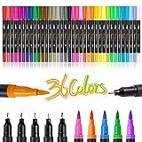 Rotuladores de pincel de doble punta, juego de 36 marcadores de arte de color, 72 puntas finas y...
